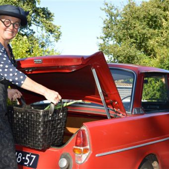 Familiedag of teamuitje in Drenthe; Daf toertocht en picknick onderweg.