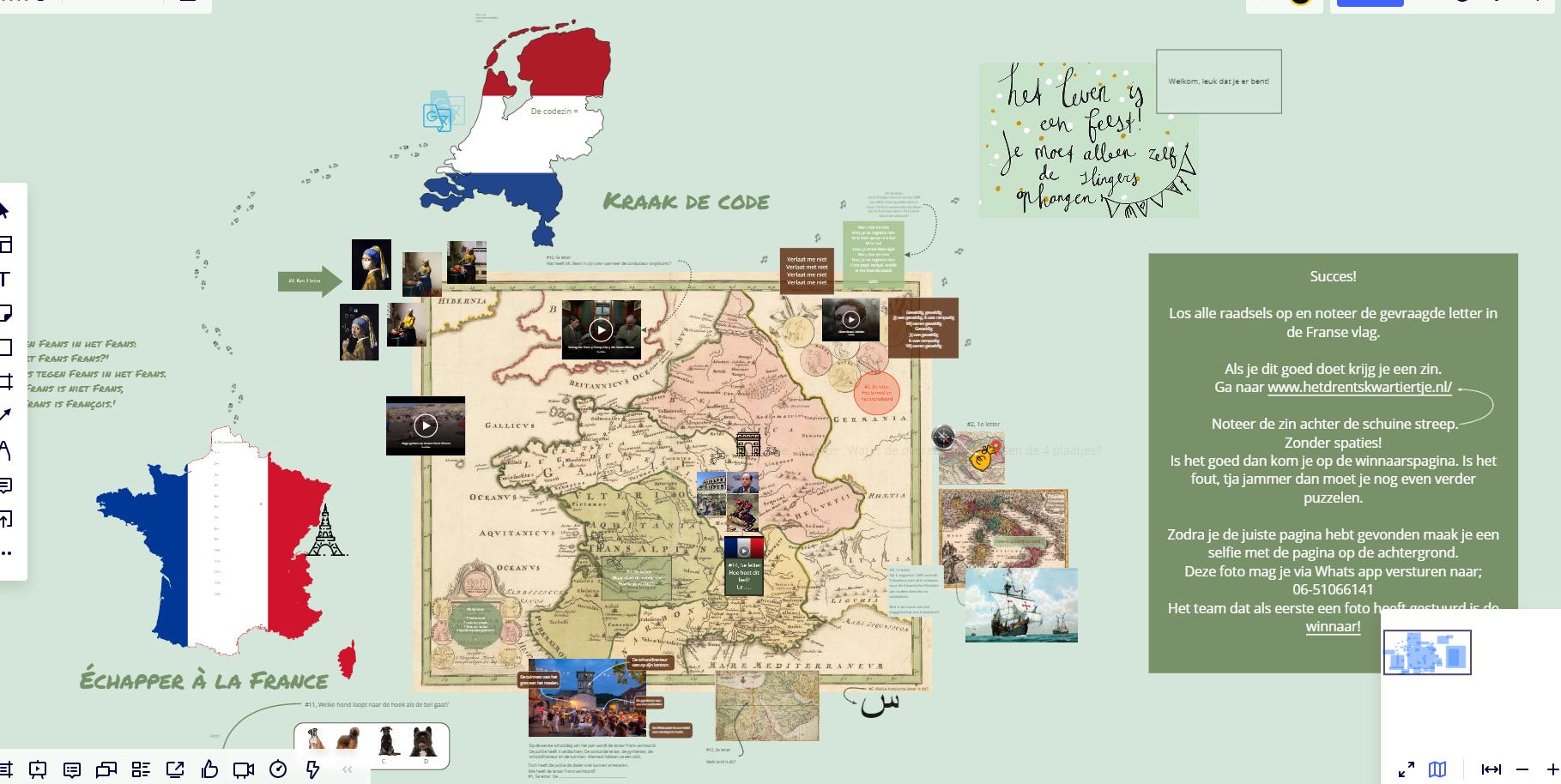bord kraak de code - Het Drents Kwartiertje - Solex Huren / Rijden - Dafje Huren / Rijden - Groepsactiviteiten, workshops, teambuilding en trainingen Drenthe