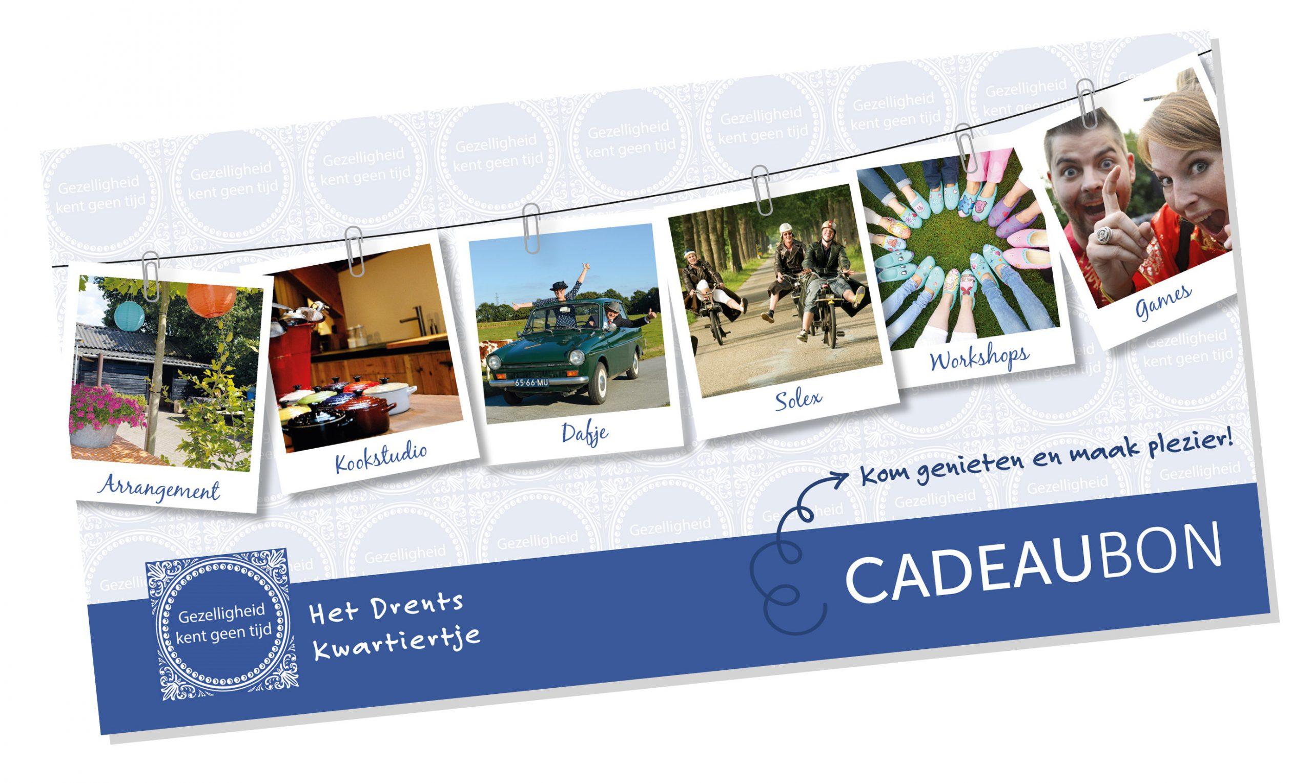 cadeaubon Drentskwartiertje voorkant scaled - Het Drents Kwartiertje - Solex Huren / Rijden - Dafje Huren / Rijden - Groepsactiviteiten, workshops, teambuilding en trainingen Drenthe
